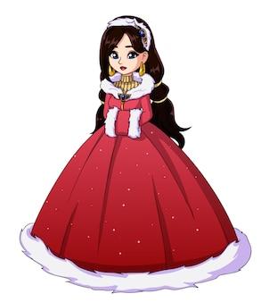 Ilustração da princesa de inverno bonito vestido longo vermelho.
