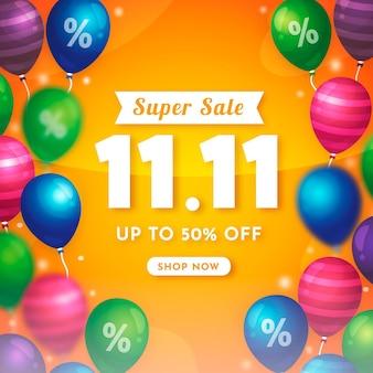 Ilustração da promoção do dia de solteiros com balões coloridos