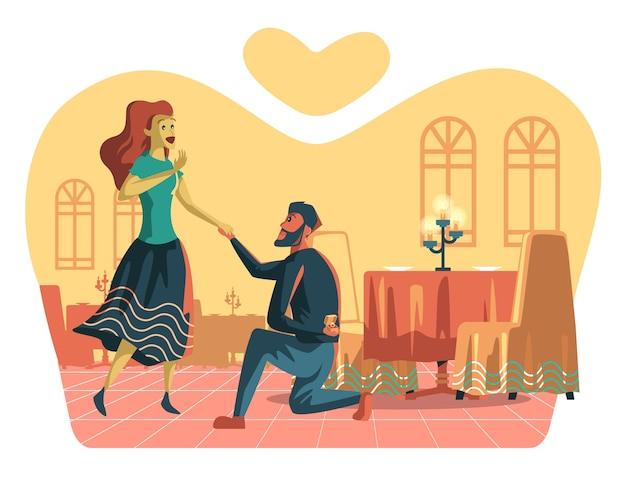 Ilustração da proposta de casamento, homem proposto no restaurante.
