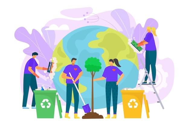 Ilustração da proteção da ecologia do planeta salvar o meio ambiente