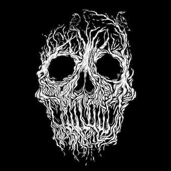 Ilustração da raiz do crânio