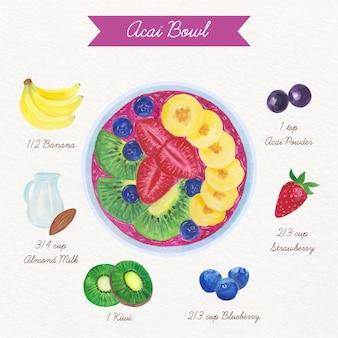 Ilustração da receita da tigela de açaí