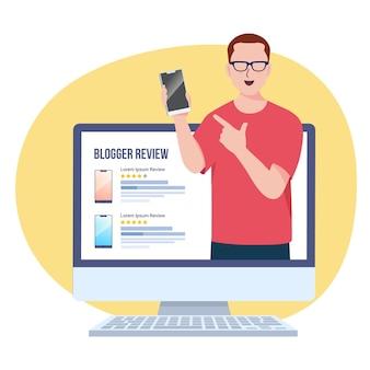 Ilustração da revisão do blogueiro