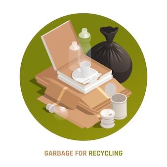 Ilustração da rodada de lixo para reciclagem