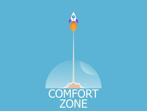 Ilustração da saída de lançamento do foguete de fundo vector de zona de conforto