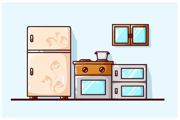 Ilustração da sala da cozinha