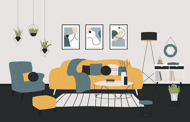 Ilustração da sala de estar aconchegante em casa de estilo minimalista escandinavo.