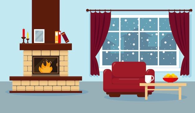 Ilustração da sala de estar com janela