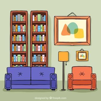 Ilustração da sala de estar com mesa e prateleiras