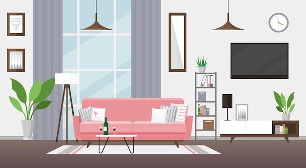 Ilustração da sala de estar design interior moderno e detalhado quarto com sofá rosa