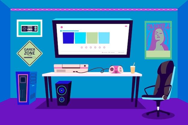 Ilustração da sala do jogador de desenho animado