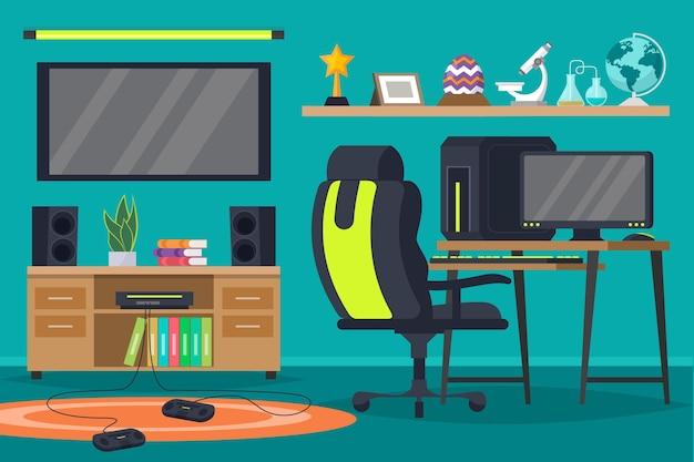 Ilustração da sala do jogador