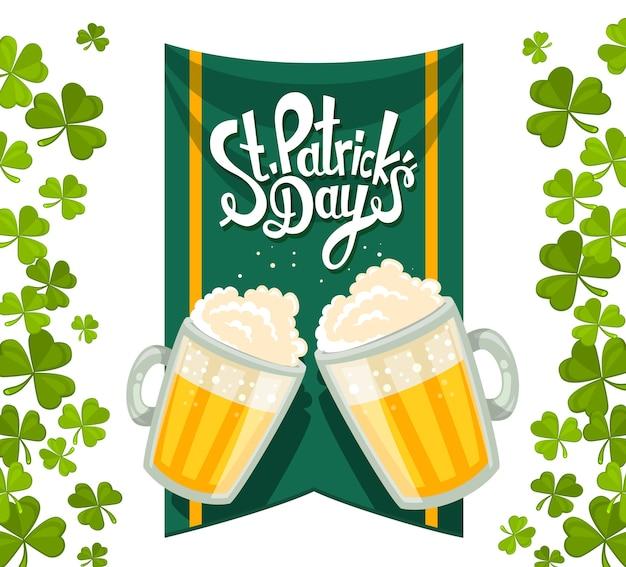 Ilustração da saudação do dia de são patrício com duas canecas grandes de cerveja amarela com trevos verdes, bandeira e texto sobre fundo branco. arte