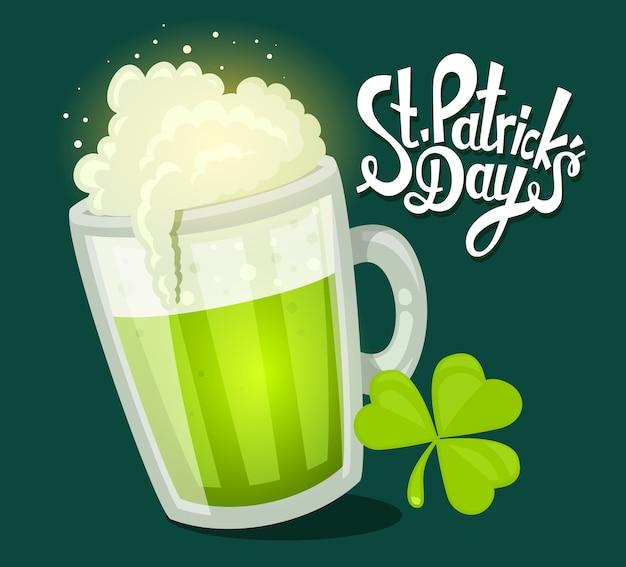 Ilustração da saudação do dia de são patrício com uma caneca grande de cerveja com trevo em fundo verde escuro. arte