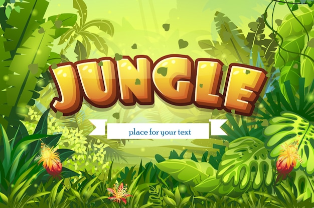 Ilustração da selva dos desenhos animados com inscrição e fita