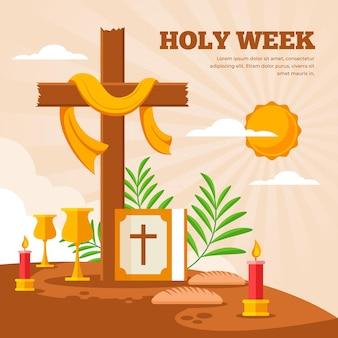 Ilustração da semana santa com cruz e vela