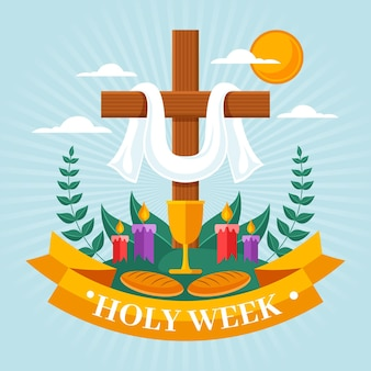 Ilustração da semana santa com cruz e velas