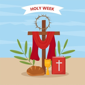 Ilustração da semana santa de design plano