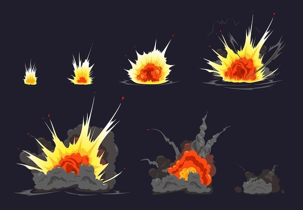 Ilustração da série de quadrinhos em animação de explosão de bomba