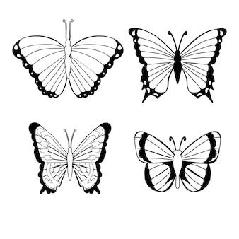 Ilustração da silhueta da borboleta