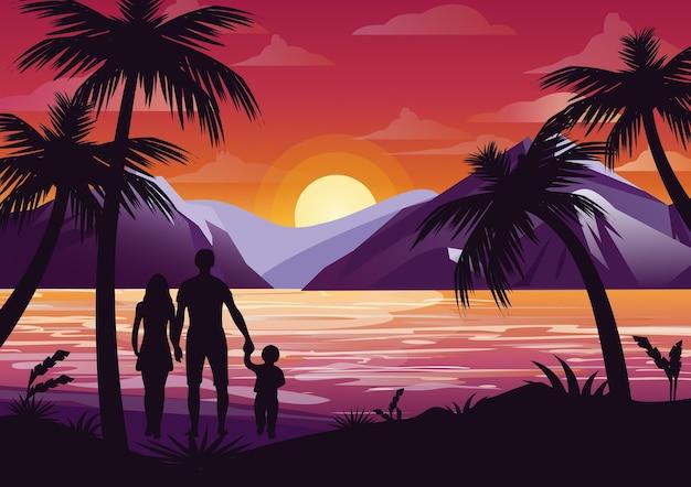 Ilustração da silhueta da família com mãe, pai e filho na praia sob a palmeira no fundo por do sol e montanhas em estilo simples.