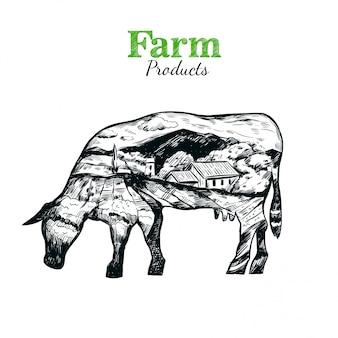 Ilustração da silhueta da vaca