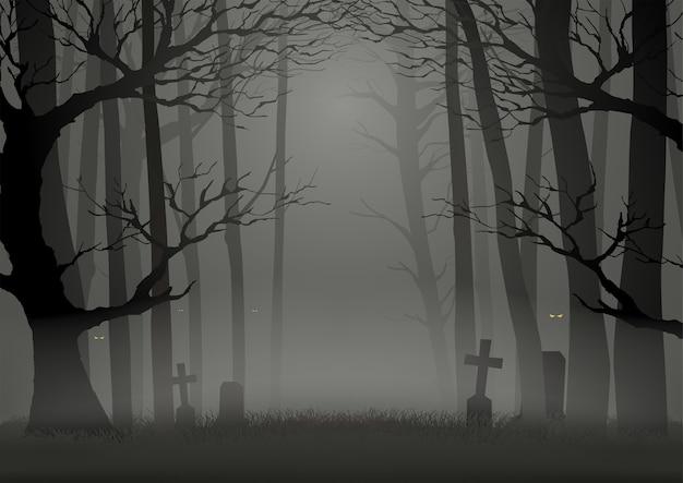 Ilustração da silhueta de árvores na floresta escura e assustadora