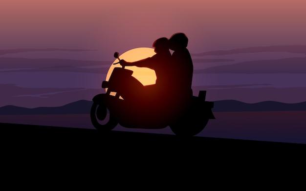 Ilustração da silhueta de um passeio de moto ao pôr do sol