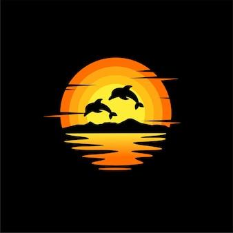 Ilustração da silhueta do golfinho, vetorial, design de logotipo animal. laranja, pôr do sol nublado, vista do oceano