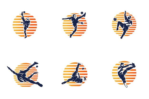 Ilustração da silhueta do jogador de futebol