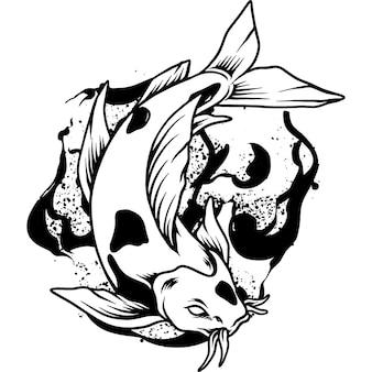 Ilustração da silhueta do peixe koi