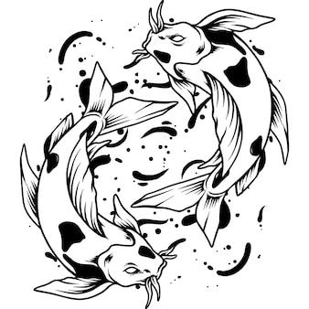 Ilustração da silhueta do peixe yin yang koi