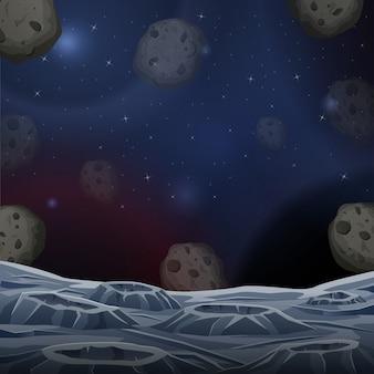Ilustração da superfície do asteroide espacial