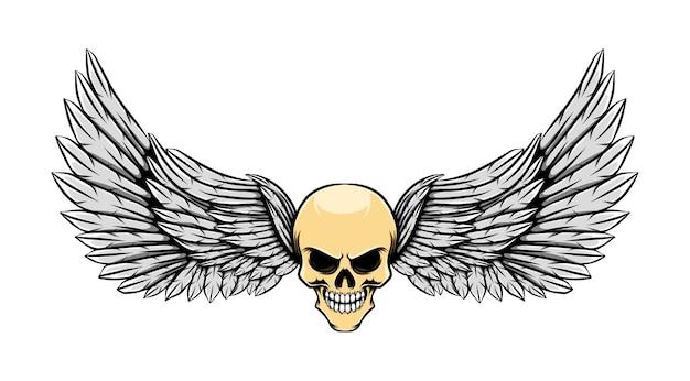 Ilustração da tatuagem do crânio morto brilhante com asas
