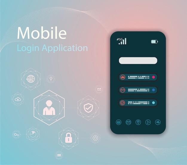 Ilustração da tecnologia dos media com telefone móvel e ícones.