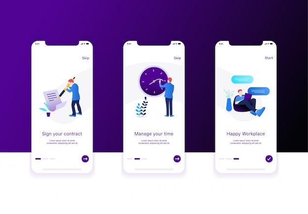 Ilustração da tela de integração do aplicativo de vaga de emprego
