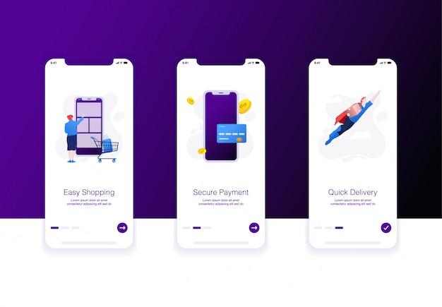 Ilustração da tela de integração do comércio eletrônico