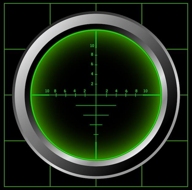 Ilustração da tela do radar de alcance do atirador