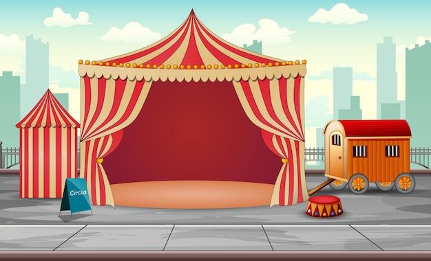 Ilustração da tenda de circo no parque de diversões