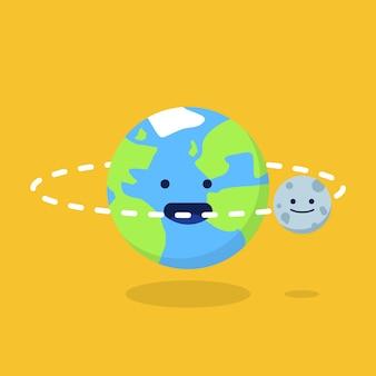 Ilustração da terra e da lua