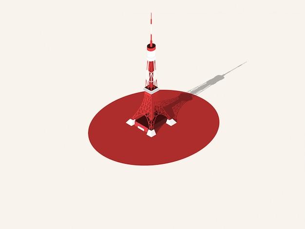 Ilustração da torre de tóquio, japão
