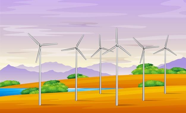 Ilustração da torre do moinho de vento na paisagem