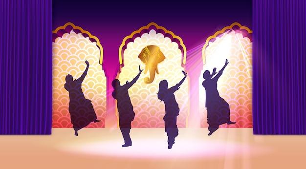 Ilustração da tradicional dançarina clássica indiana se apresentando no templo com cortinas roxas