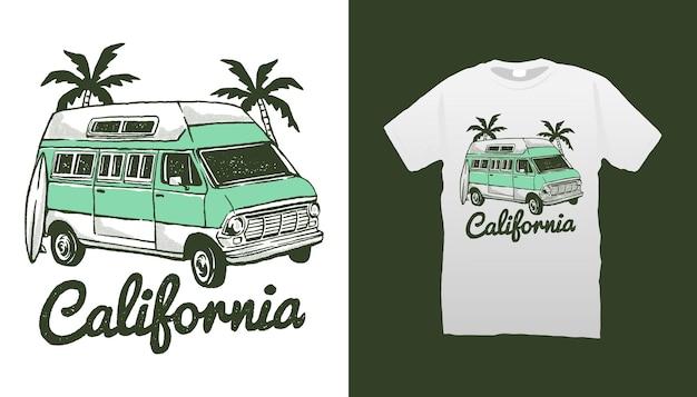 Ilustração da van de praia da califórnia