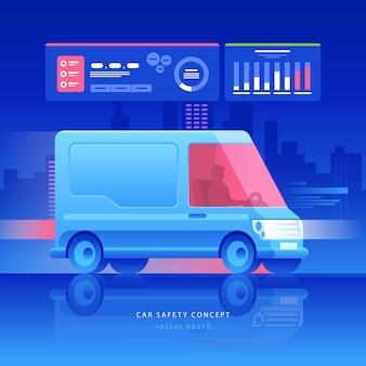 Ilustração da van do futuro conceito