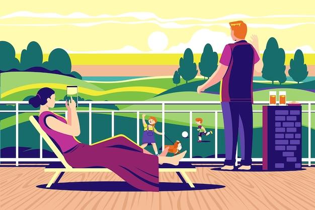 Ilustração da varanda de staycation em casa