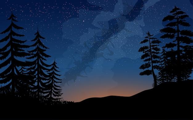 Ilustração da via láctea com floresta de pinheiros