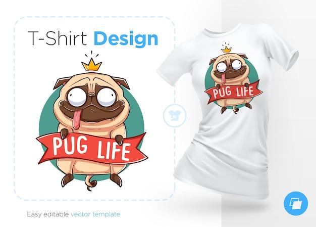 Ilustração da vida do pug para design de camisetas