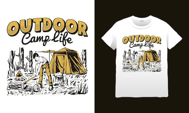 Ilustração da vida no acampamento ao ar livre
