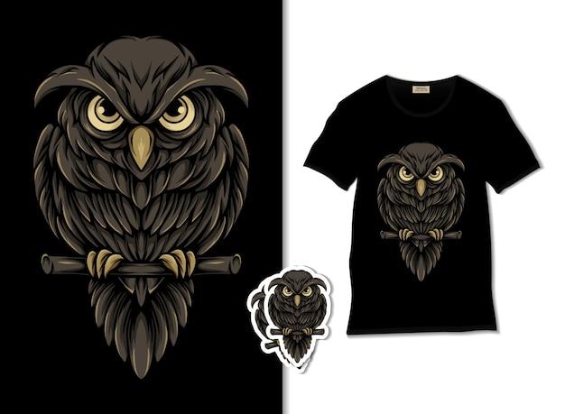 Ilustração da vida noturna da coruja